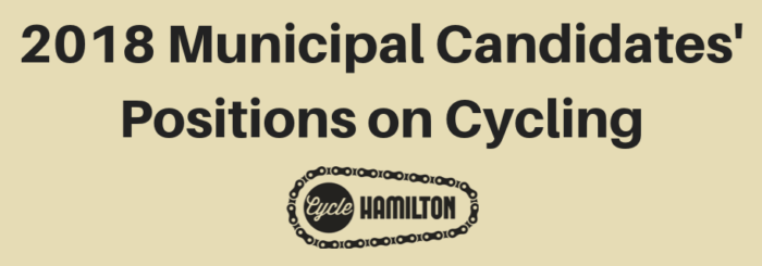 Survey Results: 2018 Municipal Candidates' Positions on Cycling