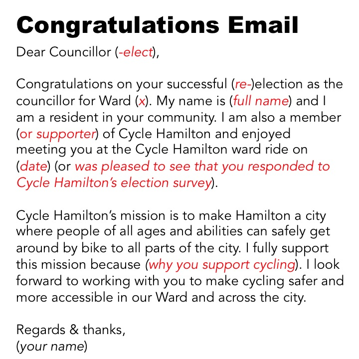 congratulations email template for contacting incoming councillors