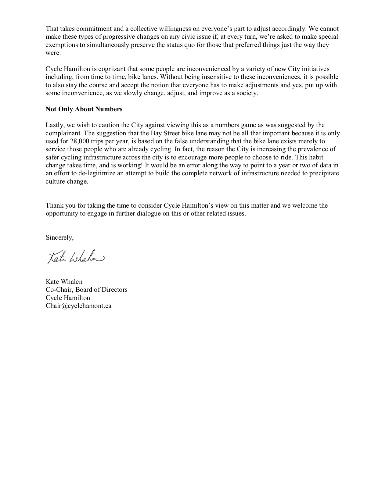 Cycle Hamilton's Response to Motion about Bay Street North